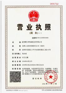 昆明betway必威官网下载电器仪表有限公司营业执照